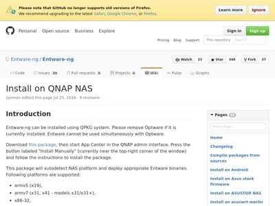 Install on QNAP NAS · Entware-ng/Entware-ng Wiki · GitHub | BibSonomy