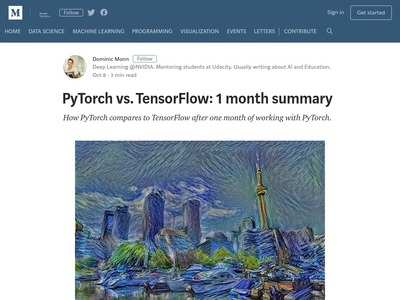 PyTorch vs  TensorFlow: 1 month summary – Towards Data
