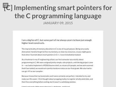 C] Implementing smart pointers for the C programming