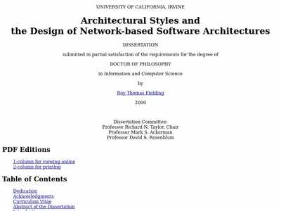 Architectural Styles And The Design Of Network Based Software