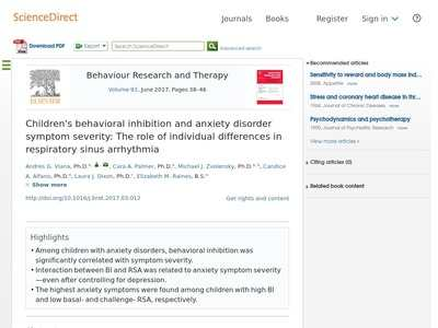 Children's behavioral inhibition and anxiety disorder