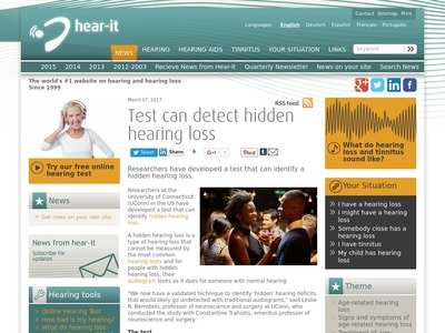 Test can detect hidden hearing loss - hear-it org   BibSonomy