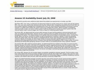 AWS Service Health Dashboard - Amazon S3 Availability Event