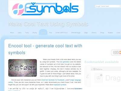 Encool Tool Generate Cool Text With Symbols Fsymbols Bibsonomy