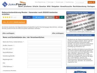 datenschutzerklrung muster generator nach dsgvo kostenlos - Muster Datenschutzerklarung