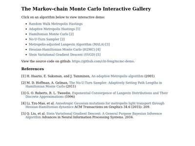 The Markov-chain Monte Carlo Interactive Gallery   BibSonomy