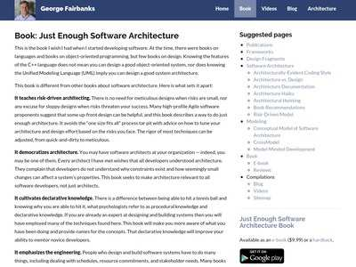 George Fairbanks - Book: Just Enough Software Architecture