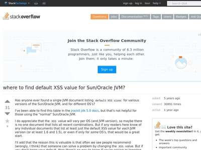 java - where to find default XSS value for Sun/Oracle JVM? - Stack