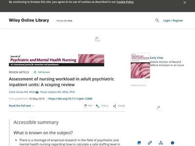 Assessment Of Nursing Workload In Adult Psychiatric Inpatient Units