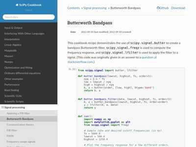 Butterworth Bandpass — SciPy Cookbook documentation | BibSonomy