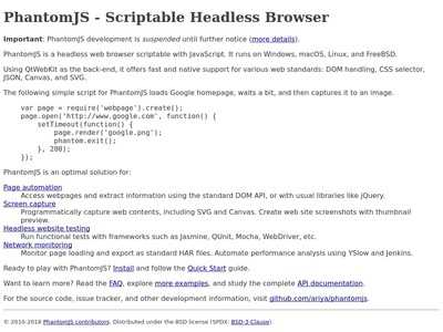 PhantomJS - Scriptable Headless Browser | BibSonomy