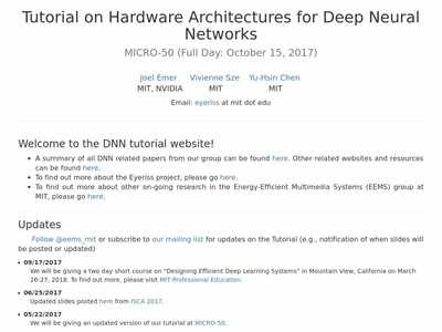 Tutorial on Hardware Architectures for Deep Neural Networks