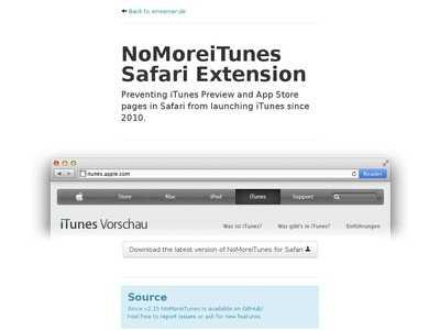 NoMoreiTunes Safari Extension | BibSonomy